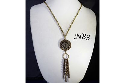 Gunmetal Flower Tassle Long Necklace